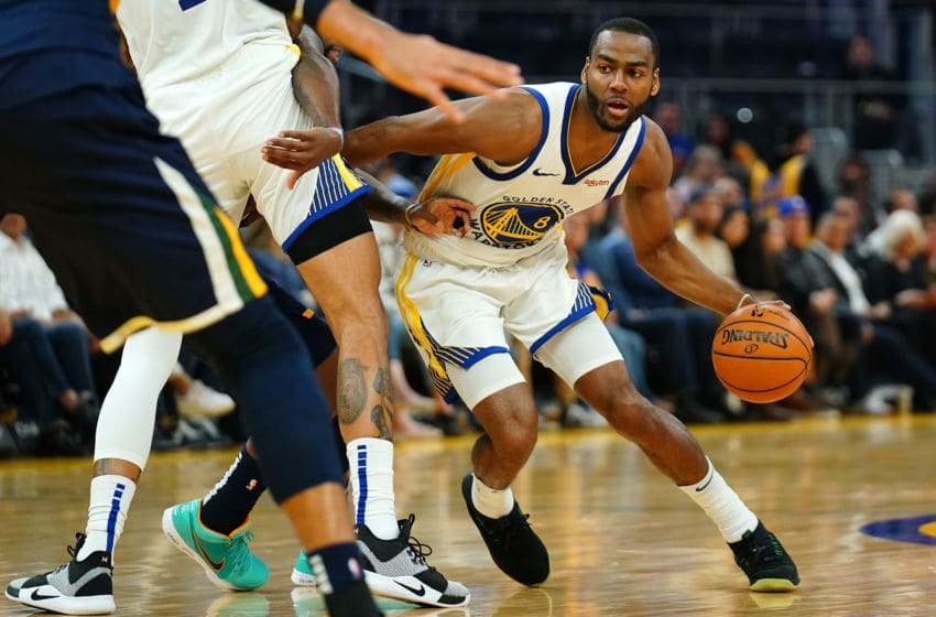 SAN FRANCISCO, CALIFORNIA - NOVEMBER 11: Alec Burks #8 of the Golden State Warriors drives to the basket during the first half against the Utah Jazz at Chase Center on November 11, 2019 in San Francisco, California. NOTE TO USER: User expressly acknowledges and agrees that, by downloading and/or using this photograph, user is consenting to the terms and conditions of the Getty Images License Agreement. (Photo by Daniel Shirey/Getty Images)