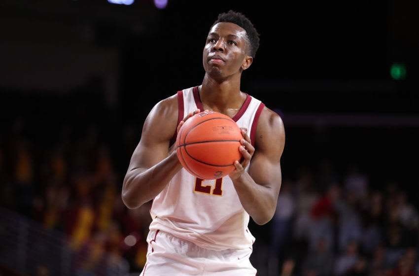 LOS ANGELES, CALIFORNIA - NOVEMBER 19: Onyeka Okongwu #21 of the USC Trojans shooting free throws against the Pepperdine Waves during a college basketball game at Galen Center on November 19, 2019 in Los Angeles, California. (Photo by Leon Bennett/Getty Images)