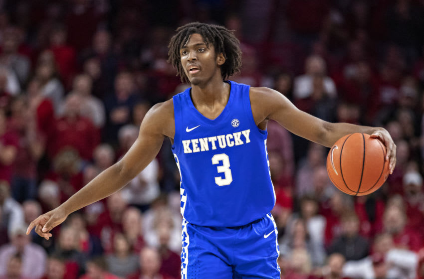 FAYETTEVILLE, AR - JANUARY 18: Tyrese Maxey #3 of the Kentucky Wildcats directs the offense during a game against the Arkansas Razorbacks at Bud Walton Arena on January 18, 2020 in Fayetteville, Arkansas. The Wildcats defeated the Razorbacks 73-66. (Photo by Wesley Hitt/Getty Images)