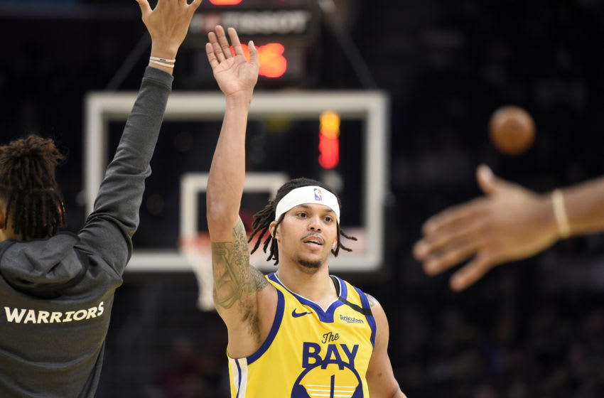 CLEVELAND, OHIO - FEBRUARY 01: Damion Lee #1 of the Golden State Warriors celebrates after scoring during the second half against the Cleveland Cavaliers at Rocket Mortgage Fieldhouse on February 01, 2020 in Cleveland, Ohio. The Warriors defeated the Cavaliers 131-112. NOTE TO USER: User expressly acknowledges and agrees that, by downloading and/or using this photograph, user is consenting to the terms and conditions of the Getty Images License Agreement. (Photo by Jason Miller/Getty Images)