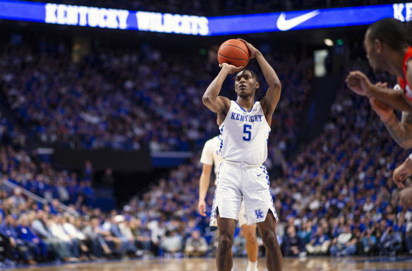 LEXINGTON, KY - FEBRUARY 29: Immanuel Quickley #5 of the Kentucky Wildcats shoots a free throw during the game against the Auburn Tigers at Rupp Arena on February 29, 2020 in Lexington, Kentucky. (Photo by Michael Hickey/Getty Images)