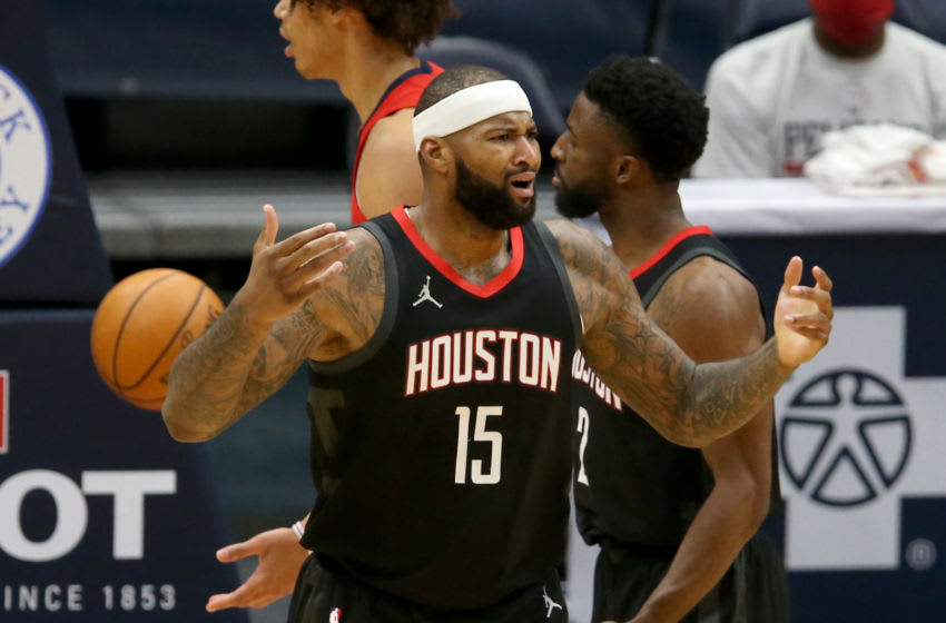 Jan 30, 2021; New Orleans, Louisiana, USA; Houston Rockets center DeMarcus Cousins (15) reacts after a turnover in the third quarter against the New Orleans Pelicans at the Smoothie King Center. Mandatory Credit: Chuck Cook-USA TODAY Sports