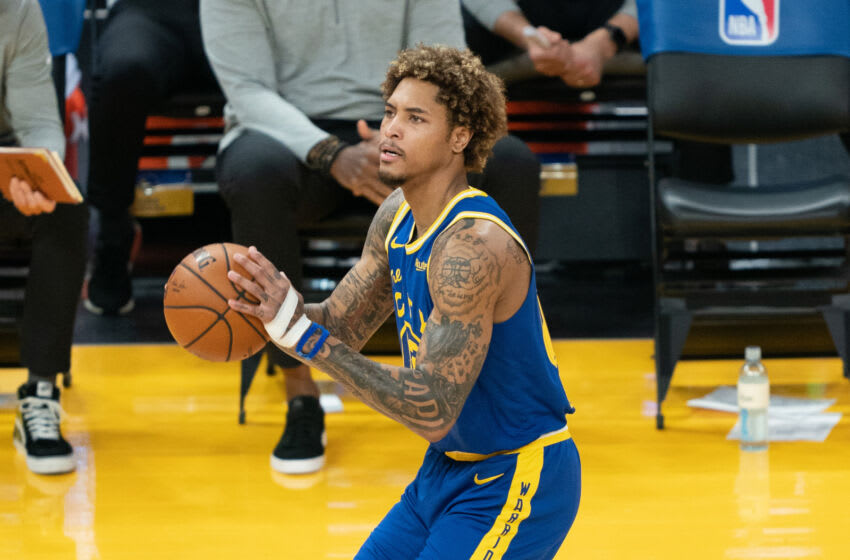 April 27, 2021; San Francisco, California, USA; Golden State Warriors guard Kelly Oubre Jr. (12) during the first quarter against the Dallas Mavericks at Chase Center. Mandatory Credit: Kyle Terada-USA TODAY Sports