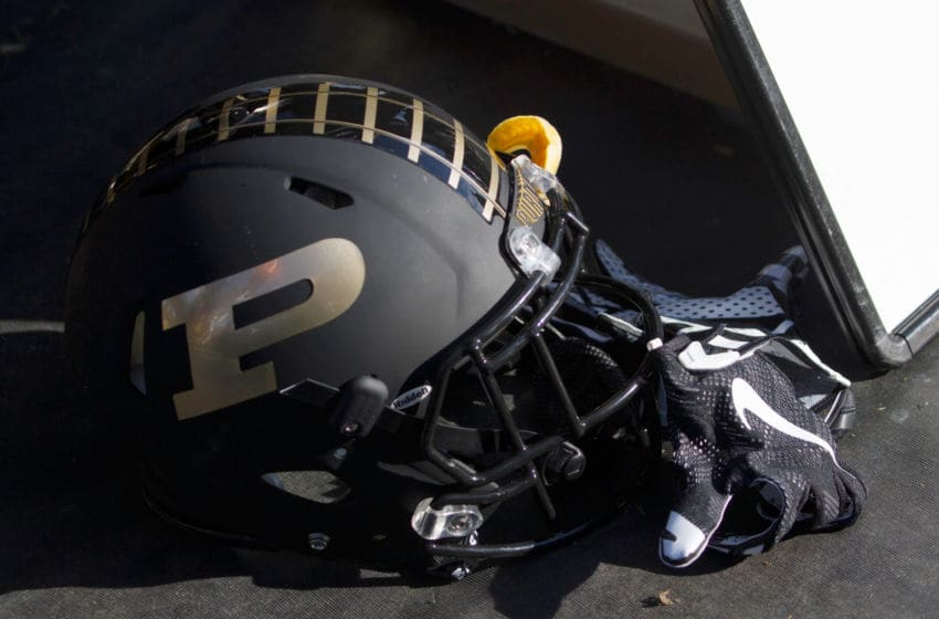 WEST LAFAYETTE, IN - NOVEMBER 07: A helmet of the Purdue Boilermakers sets on the sideline at Ross-Ade Stadium on November 7, 2015 in West Lafayette, Indiana. (Photo by Cory Seward/Getty Images)