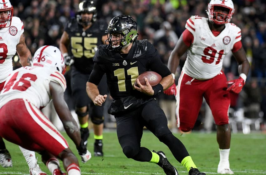 WEST LAFAYETTE, IN - OCTOBER 28: David Blough #11 of the Purdue Boilermakers runs with the ball during the second quarter of the game between the Purdue Boilermakers and the Nebraska Cornhuskers at Ross-Ade Stadium on October 28, 2017 in West Lafayette, Indiana. (Photo by Bobby Ellis/Getty Images)