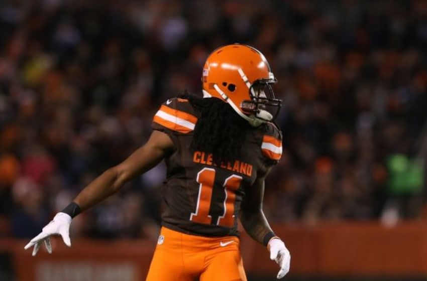 Nov 30, 2015; Cleveland, OH, USA; Cleveland Browns wide receiver Travis Benjamin (11) against the Baltimore Ravens at FirstEnergy Stadium. The Ravens won 33-27. Mandatory Credit: Aaron Doster-USA TODAY Sports