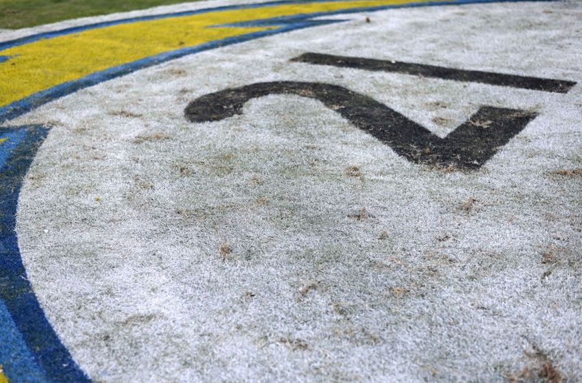 Nov 22, 2015; San Diego, CA, USA; A detailed view of the decal at midfield painted with the number 21 in honor of San Diego Chargers former runningback LaDanian Tomlinson during the game against the Kansas City Chiefs at Qualcomm Stadium. Mandatory Credit: Jake Roth-USA TODAY Sports