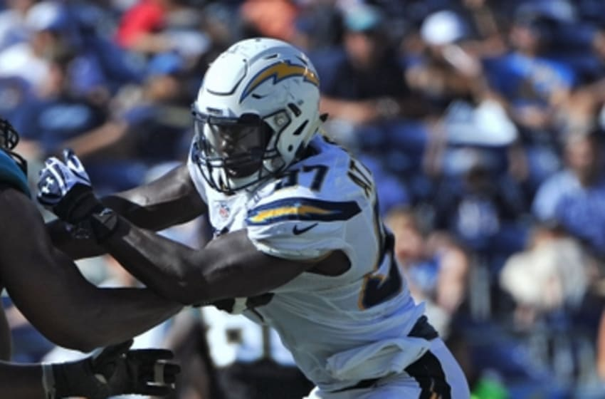 Sep 18, 2016; San Diego, CA, USA; San Diego Chargers outside linebacker Jeremiah Attaochu (97) rushes the passer during the second half of the game against the Jacksonville Jaguars at Qualcomm Stadium. San Diego won 38-14. Mandatory Credit: Orlando Ramirez-USA TODAY Sports