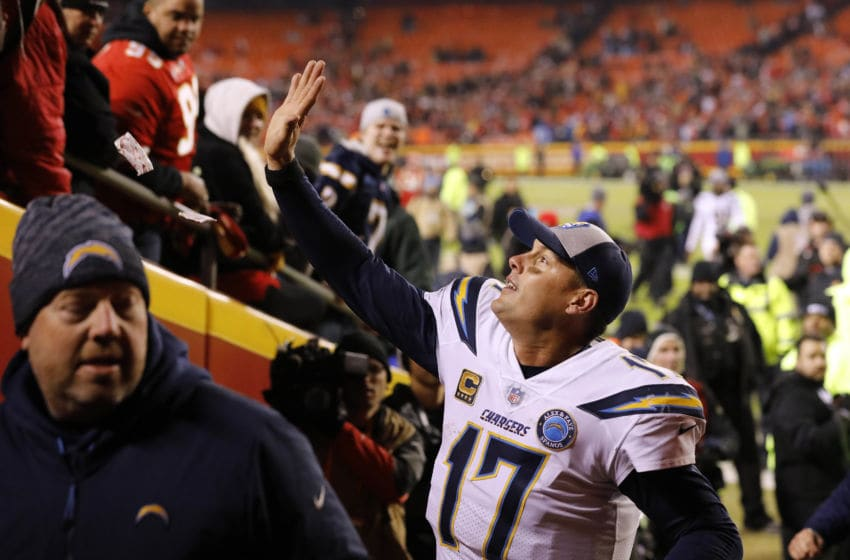 KANSAS CITY, MISSOURI - DECEMBER 13: Quarterback Philip Rivers #17 of the Los Angeles Chargers waves to Kansas City Chiefs fans after the Chargers defeated the Chiefs with a final score of 29-28 to win the game at Arrowhead Stadium on December 13, 2018 in Kansas City, Missouri. (Photo by David Eulitt/Getty Images)
