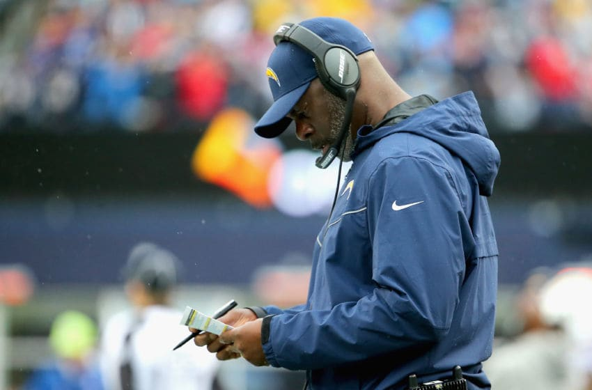 FOXBORO, MA - OCTOBER 29: Head coach Anthony Lynn of the Los Angeles Chargers reacts during the third quarter of a game against the New England Patriots at Gillette Stadium on October 29, 2017 in Foxboro, Massachusetts. (Photo by Maddie Meyer/Getty Images)