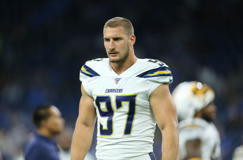 DETROIT, MI - SEPTEMBER 15: Joey Bosa #97 of the Los Angeles Chargers during warm ups prior to the start of the game against the Detroit Lions at Ford Field on September 15, 2019 in Detroit, Michigan. (Photo by Rey Del Rio/Getty Images)