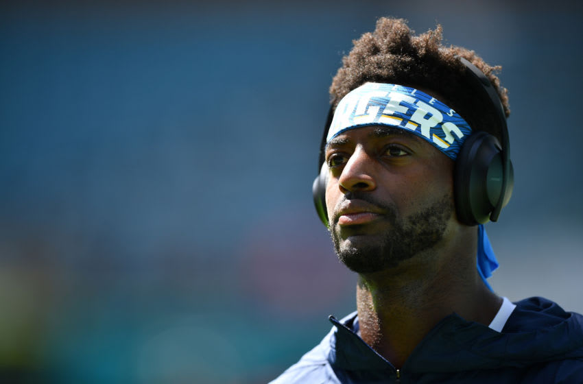 MIAMI, FLORIDA - SEPTEMBER 29: Dontrelle Inman #15 of the Los Angeles Chargers warms up prior to the game between the Miami Dolphins and the Los Angeles Chargers at Hard Rock Stadium on September 29, 2019 in Miami, Florida. (Photo by Mark Brown/Getty Images)
