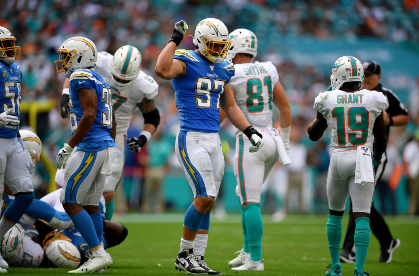 MIAMI, FLORIDA - SEPTEMBER 29: Joey Bosa #97 of the Los Angeles Chargers in the third quarter against the Miami Dolphins at Hard Rock Stadium on September 29, 2019 in Miami, Florida. (Photo by Mark Brown/Getty Images)