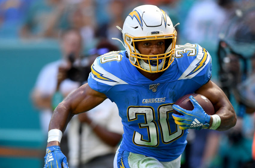 MIAMI, FLORIDA - SEPTEMBER 29: Austin Ekeler #30 of the Los Angeles Chargers runs with the ball in the third quarter against the Miami Dolphins at Hard Rock Stadium on September 29, 2019 in Miami, Florida. (Photo by Mark Brown/Getty Images)