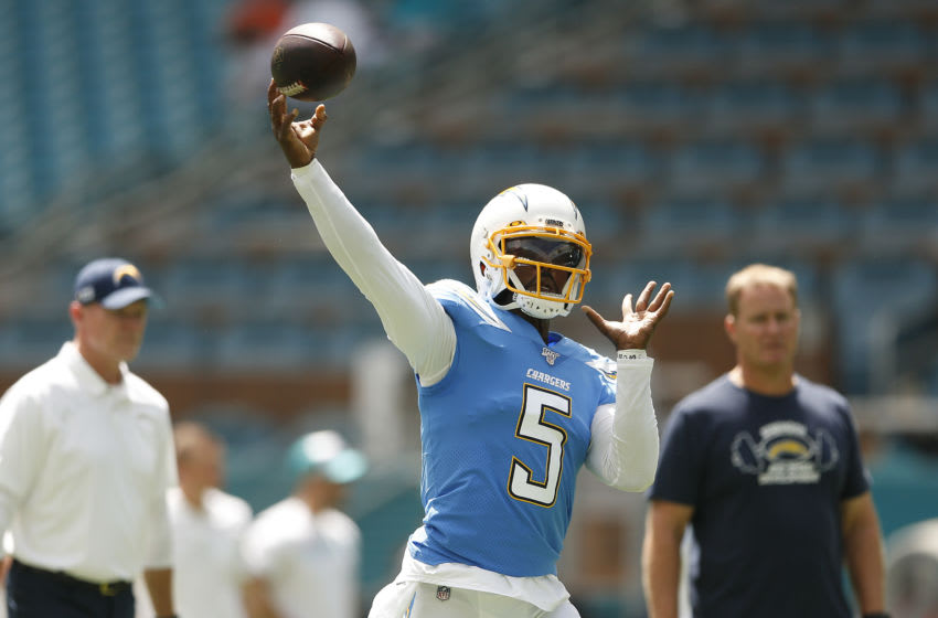 MIAMI, FLORIDA - SEPTEMBER 29: Tyrod Taylor #5 of the Los Angeles Chargers warms up prior to the game between the Miami Dolphins and the Los Angeles Chargers at Hard Rock Stadium on September 29, 2019 in Miami, Florida. (Photo by Michael Reaves/Getty Images)