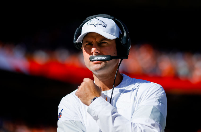 DENVER, CO - OCTOBER 13: Outside linebackers coach Brandon Staley of the Denver Broncos looks on before the game against the Tennessee Titans at Empower Field at Mile High on October 13, 2019 in Denver, Colorado. (Photo by Justin Edmonds/Getty Images)