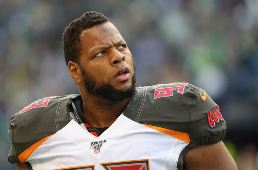 SEATTLE, WASHINGTON - NOVEMBER 03: Ndamukong Suh #93 of the Tampa Bay Buccaneers reacts in the fourth quarter against the Seattle Seahawks during a game at CenturyLink Field on November 03, 2019 in Seattle, Washington. (Photo by Abbie Parr/Getty Images)