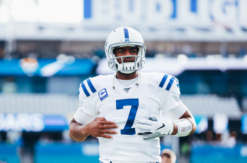 JACKSONVILLE, FLORIDA - DECEMBER 29: Jacoby Brissett #7 of the Indianapolis Colts on the field before facing the Jacksonville Jaguars at TIAA Bank Field on December 29, 2019 in Jacksonville, Florida. (Photo by Harry Aaron/Getty Images)