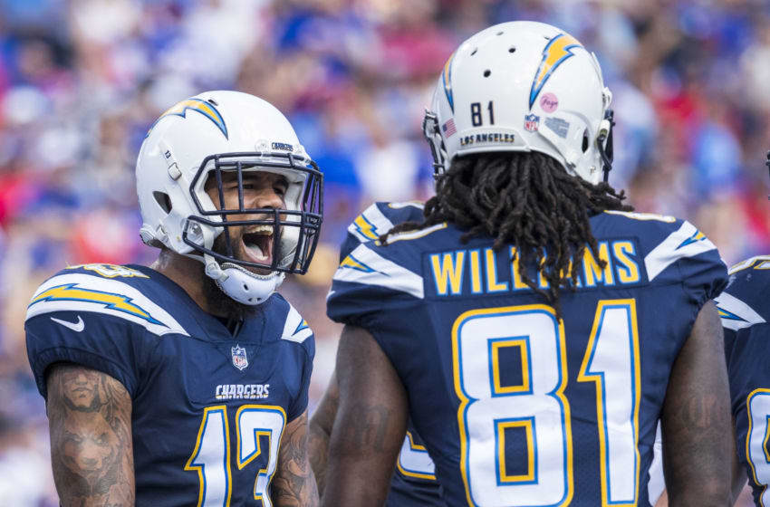 ORCHARD PARK, NY - SEPTEMBER 16: Keenan Allen #13 of the Los Angeles Chargers celebrates a touchdown reception by Mike Williams #81 during the first quarter against the Buffalo Bills at New Era Field on September 16, 2018 in Orchard Park, New York. (Photo by Brett Carlsen/Getty Images)