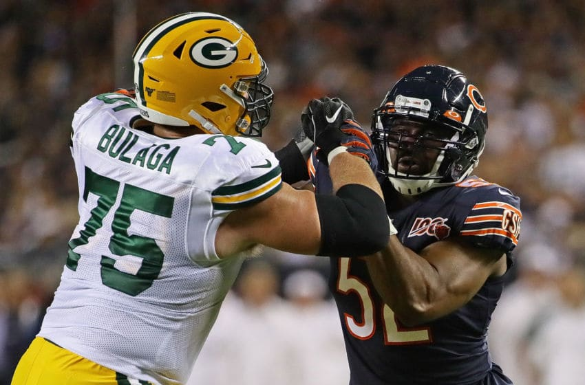 CHICAGO, ILLINOIS - SEPTEMBER 05: Khalil Mack #52 of the Chicago Bears rushes against Bryan Bulaga #75 of the Green Bay Packers at Soldier Field on September 05, 2019 in Chicago, Illinois. (Photo by Jonathan Daniel/Getty Images)