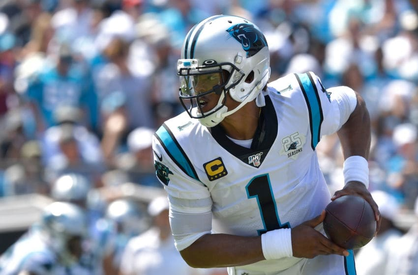 CHARLOTTE, NORTH CAROLINA - SEPTEMBER 08: Cam Newton #1 of the Carolina Panthers with the ball during their game against the Los Angeles Rams at Bank of America Stadium on September 08, 2019 in Charlotte, North Carolina. The Rams won 30-23. (Photo by Grant Halverson/Getty Images)