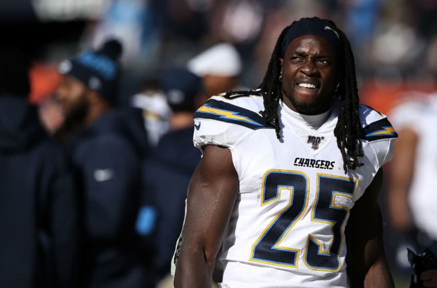 CHICAGO, ILLINOIS - OCTOBER 27: Melvin Gordon III #25 of the Los Angeles Chargers looks on in the third quarter against the Chicago Bears at Soldier Field on October 27, 2019 in Chicago, Illinois. (Photo by Dylan Buell/Getty Images)