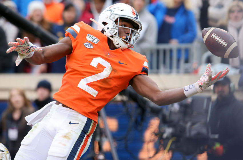 CHARLOTTESVILLE, VA - NOVEMBER 09: Joe Reed #2 of the Virginia Cavaliers can't complete a catch in the second half during a game against the Georgia Tech Yellow Jackets at Scott Stadium on November 9, 2019 in Charlottesville, Virginia. (Photo by Ryan M. Kelly/Getty Images)
