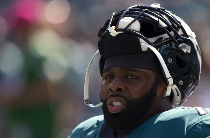 PHILADELPHIA, PA - SEPTEMBER 22: Jason Peters #71 of the Philadelphia Eagles looks on prior to the game against the Detroit Lions at Lincoln Financial Field on September 22, 2019 in Philadelphia, Pennsylvania. (Photo by Mitchell Leff/Getty Images)