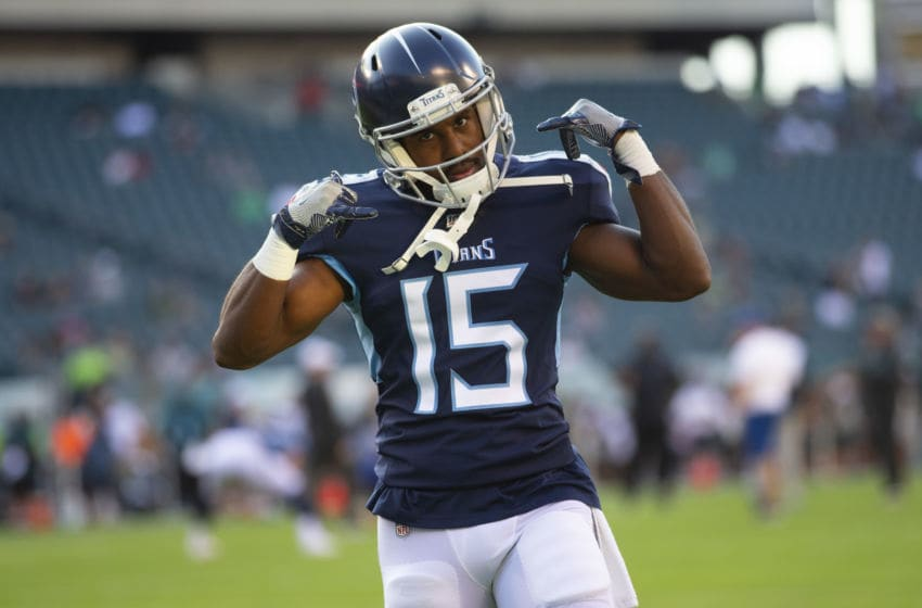 PHILADELPHIA, PA - AUGUST 08: Darius Jennings #15 of the Tennessee Titans dances on the field prior to the preseason game against the Philadelphia Eagles at Lincoln Financial Field on August 8, 2019 in Philadelphia, Pennsylvania. (Photo by Mitchell Leff/Getty Images)