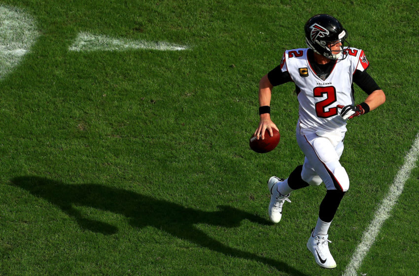 TAMPA, FLORIDA - DECEMBER 29: Matt Ryan #2 of the Atlanta Falcons scrambles during a game against the Tampa Bay Buccaneers at Raymond James Stadium on December 29, 2019 in Tampa, Florida. (Photo by Mike Ehrmann/Getty Images)