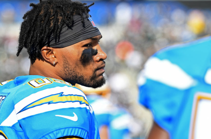 CARSON, CA - DECEMBER 22: Wide receiver Jason Moore #89 of the Los Angeles Chargers looks on during the game against the Oakland Raiders at Dignity Health Sports Park on December 22, 2019 in Carson, California. (Photo by Jayne Kamin-Oncea/Getty Images)