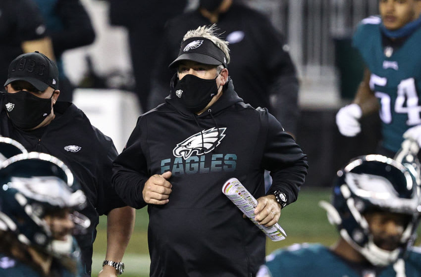 PHILADELPHIA, PENNSYLVANIA - NOVEMBER 30: Head coach Doug Pederson of the Philadelphia Eagles heads into the field following a loss to the Seattle Seahawks at Lincoln Financial Field on November 30, 2020 in Philadelphia, Pennsylvania. (Photo by Elsa/Getty Images)