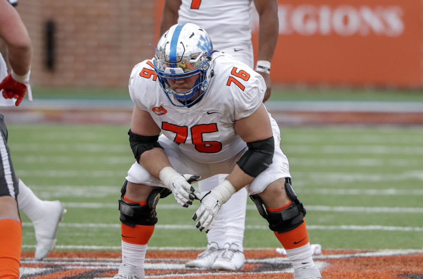 MOBILE, AL - JANUARY 30: Offensive Lineman Drake Jackson #76 from Kentucky of the American Team during the 2021 Resse's Senior Bowl at Hancock Whitney Stadium on the campus of the University of South Alabama on January 30, 2021 in Mobile, Alabama. The National Team defeated the American Team 27-24. (Photo by Don Juan Moore/Getty Images)