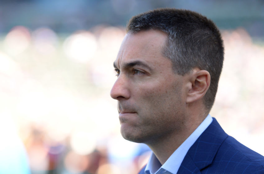 Dec 15, 2019; Carson, CA, USA; Los Angeles Chargers general manager Tom Telesco looks on before the game against the Minnesota Vikings at Dignity Health Sports Park. Mandatory Credit: Jake Roth-USA TODAY Sports