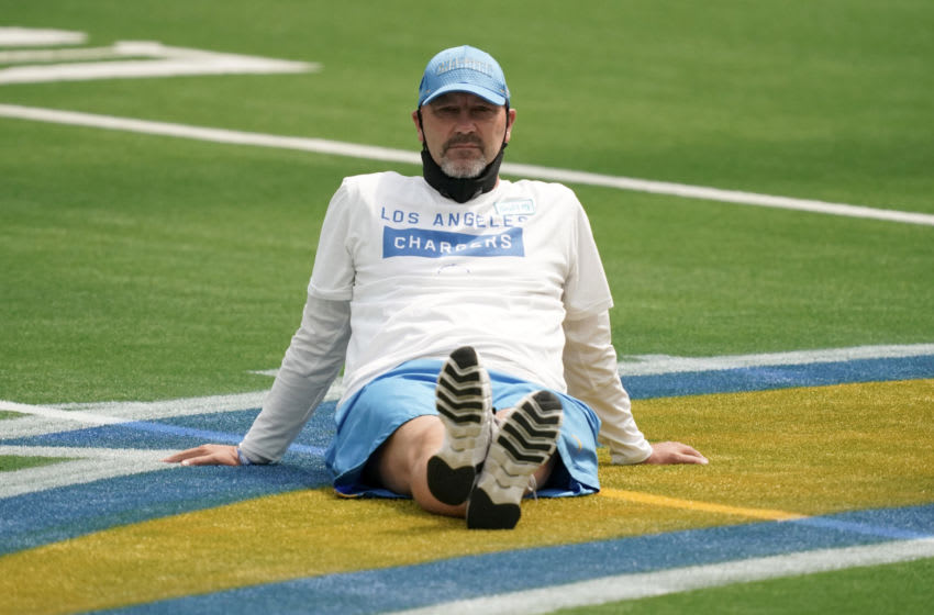 Aug 27, 2020; Inglewood, California, United States; Los Angeles Chargers defensive coordinator Gus Bradley at a scrimmage at SoFi Stadium that was cancelled in the wake of protests following the police shooting of Jacob Blake in Kenosha, Wisconsin. Mandatory Credit: Kirby Lee-USA TODAY Sports