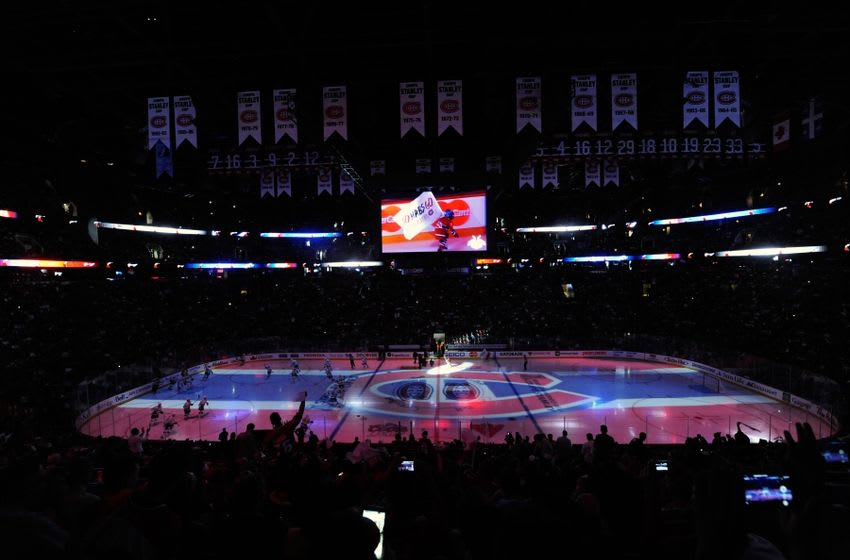 May 3, 2015; Montreal, Quebec, CAN; General view during the first period in game two of the second round of the 2015 Stanley Cup Playoffs between the Tampa Bay Lightning and the Montreal Canadiens at the Bell Centre. Mandatory Credit: Eric Bolte-USA TODAY Sports