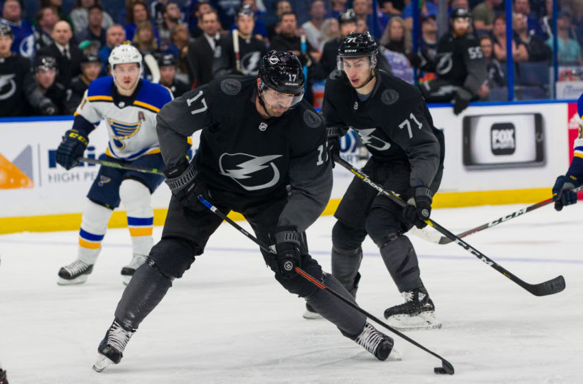 TAMPA, FL - FEBRUARY 7: Alex Killorn #17 of the Tampa Bay Lightning skates against the St Louis Blues during overtime at Amalie Arena on February 7, 2019 in Tampa, Florida. (Photo by Mark LoMoglio/NHLI via Getty Images)
