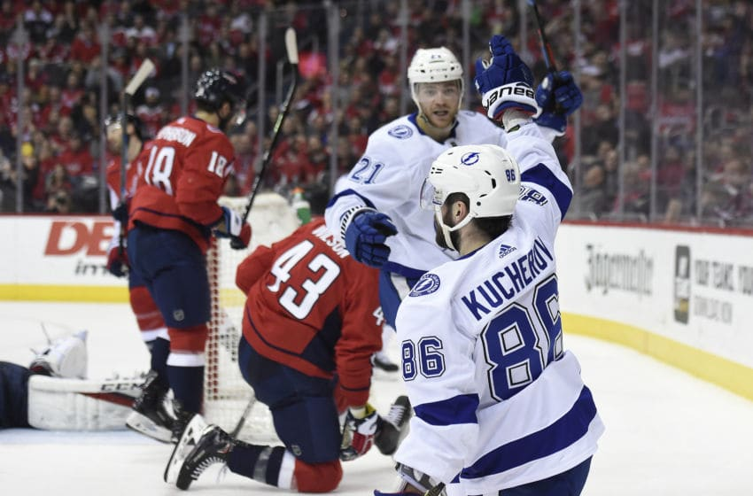 WASHINGTON, DC - MARCH 20: Nikita Kucherov #86 of the Tampa Bay Lightning celebrates after scoring his second goal of the game in the second period against the Washington Capitals at Capital One Arena on March 20, 2019 in Washington, DC. (Photo by Patrick McDermott/NHLI via Getty Images)
