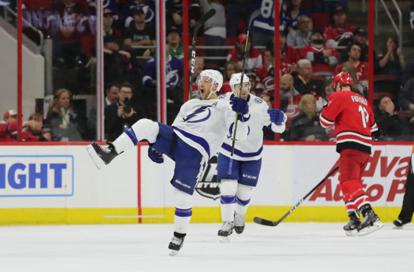 RALEIGH, NC - MARCH 21: Tampa Bay Lightning right wing Ryan Callahan (24) celebrates a goal during the 3rd period of the Carolina Hurricanes game versus the Tampa Bay Lightning on March 21st, 2019 at PNC Arena in Raleigh, NC. (Photo by Jaylynn Nash/Icon Sportswire via Getty Images)