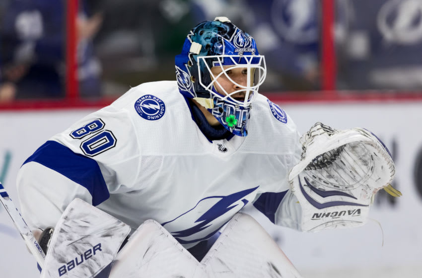 OTTAWA, ON - APRIL 01: Tampa Bay Lightning Goalie Edward Pasquale (80) prepares to make a save during warm-up before National Hockey League action between the Tampa Bay Lightning and Ottawa Senators on April 1, 2019, at Canadian Tire Centre in Ottawa, ON, Canada. (Photo by Richard A. Whittaker/Icon Sportswire via Getty Images)