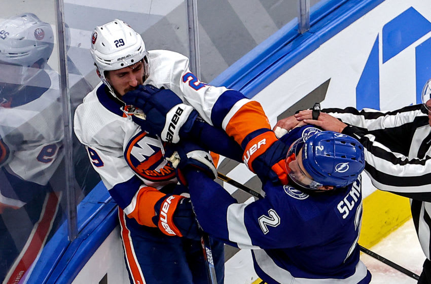 EDMONTON, ALBERTA - SEPTEMBER 07: Brock Nelson #29 of the New York Islanders and Luke Schenn #2 of the Tampa Bay Lightning scuffle during the second period in Game One of the Eastern Conference Final during the 2020 NHL Stanley Cup Playoffs at Rogers Place on September 07, 2020 in Edmonton, Alberta, Canada. (Photo by Bruce Bennett/Getty Images)