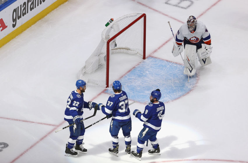 EDMONTON, ALBERTA - SEPTEMBER 07: The Tampa Bay Lightning celebrate a goal against Semyon Varlamov #40 of the New York Islanders in Game One of the Eastern Conference Final during the 2020 NHL Stanley Cup Playoffs at Rogers Place on September 07, 2020 in Edmonton, Alberta, Canada. (Photo by Bruce Bennett/Getty Images)