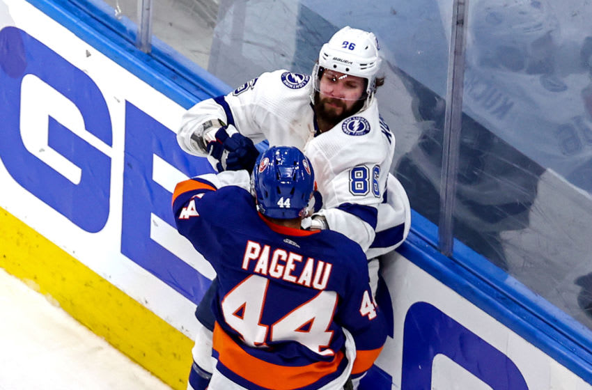 EDMONTON, ALBERTA - SEPTEMBER 11: Jean-Gabriel Pageau #44 of the New York Islanders fights with Nikita Kucherov #86 of the Tampa Bay Lightning after scoring an empty-net goal while being slahed during the third period in Game Three of the Eastern Conference Final during the 2020 NHL Stanley Cup Playoffs at Rogers Place on September 11, 2020 in Edmonton, Alberta, Canada. (Photo by Bruce Bennett/Getty Images)