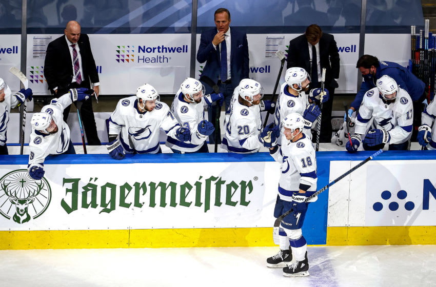 EDMONTON, ALBERTA - SEPTEMBER 13: Ondrej Palat #18 of the Tampa Bay Lightning is congratulated by his teammates after scoring a goal against the New York Islanders during the second period in Game Four of the Eastern Conference Final during the 2020 NHL Stanley Cup Playoffs at Rogers Place on September 13, 2020 in Edmonton, Alberta, Canada. (Photo by Bruce Bennett/Getty Images)