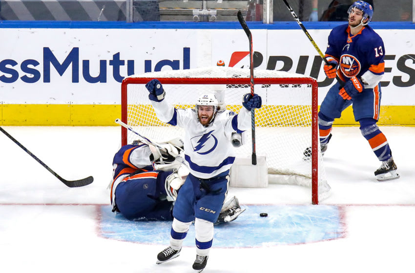 EDMONTON, ALBERTA - SEPTEMBER 13: Brayden Point #21 of the Tampa Bay Lightning celebrates after scoring a goal past Semyon Varlamov #40 of the New York Islanders during the third period in Game Four of the Eastern Conference Final during the 2020 NHL Stanley Cup Playoffs at Rogers Place on September 13, 2020 in Edmonton, Alberta, Canada. (Photo by Bruce Bennett/Getty Images)