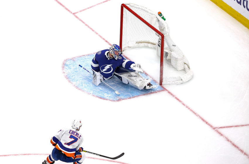 EDMONTON, ALBERTA - SEPTEMBER 15: Jordan Eberle #7 of the New York Islanders scores the game-winning goal past Andrei Vasilevskiy #88 of the Tampa Bay Lightning during the second overtime period to give the Islanders the 2-1 victory in Game Five of the Eastern Conference Final during the 2020 NHL Stanley Cup Playoffs at Rogers Place on September 15, 2020 in Edmonton, Alberta, Canada. (Photo by Bruce Bennett/Getty Images)