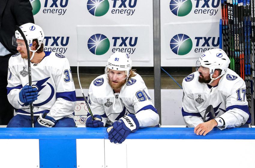 EDMONTON, ALBERTA - SEPTEMBER 23: Steven Stamkos #91 of the Tampa Bay Lightning looks on from the bench against the Dallas Stars during the second period in Game Three of the 2020 NHL Stanley Cup Final at Rogers Place on September 23, 2020 in Edmonton, Alberta, Canada. (Photo by Bruce Bennett/Getty Images)