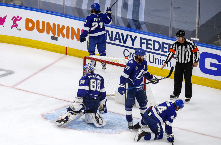 EDMONTON, ALBERTA - SEPTEMBER 26: Andrei Vasilevskiy #88 of the Tampa Bay Lightning reacts after allowing the game-winning goal to Corey Perry (not pictured) of the Dallas Stars during the second overtime period in Game Five of the 2020 NHL Stanley Cup Final at Rogers Place on September 26, 2020 in Edmonton, Alberta, Canada. (Photo by Bruce Bennett/Getty Images)
