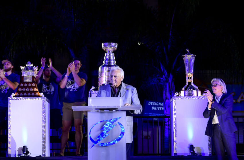 TAMPA, FLORIDA - SEPTEMBER 30: Ex-NHL head coach Phil Esposito speaks during the 2020 Stanley Cup Champion rally on September 30, 2020 in Tampa, Florida. (Photo by Douglas P. DeFelice/Getty Images)