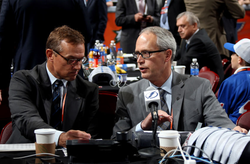 PHILADELPHIA, PA - JUNE 28: Stever Yzerman, General Manager of the Tampa Bay Lightnint (L) speaks with a colleague on Day Two of the 2014 NHL Draft at the Wells Fargo Center on June 28, 2014 in Philadelphia, Pennsylvania. (Photo by Bruce Bennett/Getty Images)
